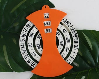 Perpetual Wall Calendar - French Vintage Perpetual Office Calendar, Wall Hanging Calendar, Orange Wall Calendar, Plastic Retro Calendar