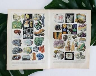 Vintage Minerals Poster, Vintage Art Prints, Gems, Minerals, Rocks, Geology, Minerals Illustration Print, French Dictionary Print, E364