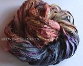 Sari Silk, Tropical Storm, Fair Trade, 5 Yards, Chiffon, Textile Fiber, Yarn, Art Yarn, Crochet Yarn, Bracelet Ribbon, Silk Fabric #60
