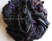 Sari Silk, Whiplash Black Mix, New Recycled Sari Silk, Fair Trade, 5 Yards, Textile, Art Yarn, Ribbon, Silk Fabric, Artwear Elements, 61b