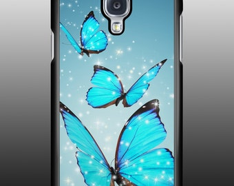 Blue butterflys phone case 4, 4s or 5, 5s, 5c, 6, 6s Plus iPhone or Galaxy s3, s4, s5, s6, s7, Note 5