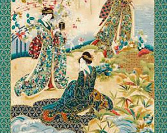 Japanese Asian Quilting Fabric Panel - Oriental Traditions - Imperial 12 - Geisha Gathering PANEL -  Blue, Teal, Red, Tan & Gold Metallic