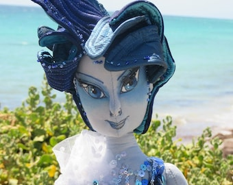 OOAK cloth art doll, the Ocean