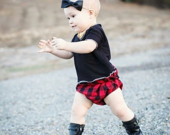 High Waisted Red/Black Plaid Paperbag Bloomers