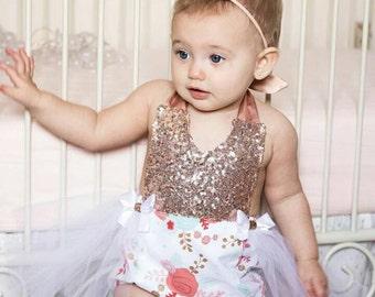 Rose Gold Sequin Floral Romper / Baby Romper / Romper