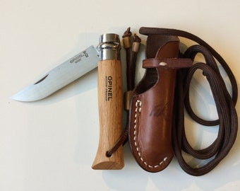 Customized Opinel No.8 knife with handmade leather sheath