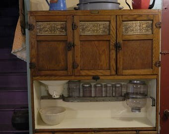 1917 Oak McDougall Hoosier Cabinet With Original Finish, Door  Charts,labels, Latches,