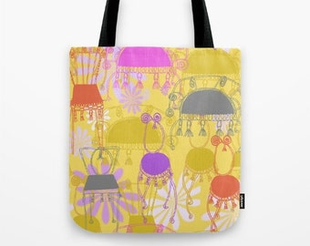"""chairs and tassels -Tote bag with decorative chair drawings, 16""""x16"""""""