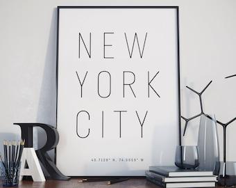 New York City Typography Print. Poster.