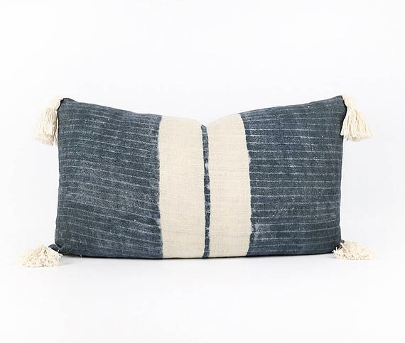 Linen Indigo Hmong Tribal Textile Lumbar Pillow Cover 14x24