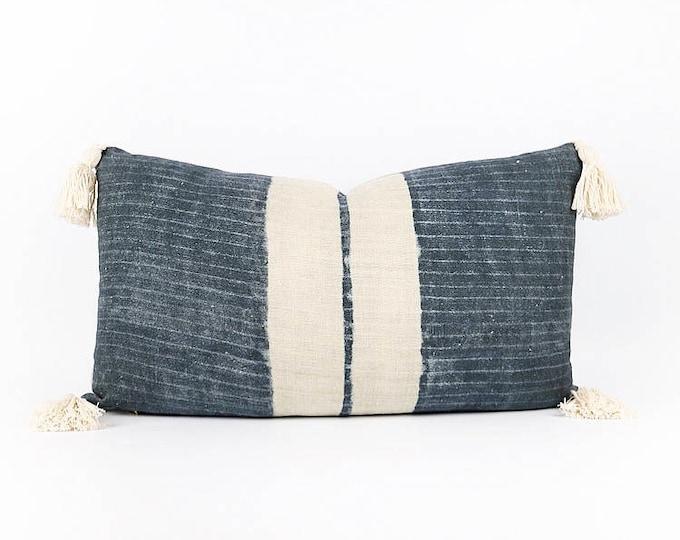 Linen Indigo Hmong Tribal Textile Lumbar Pillow Cover 14x24