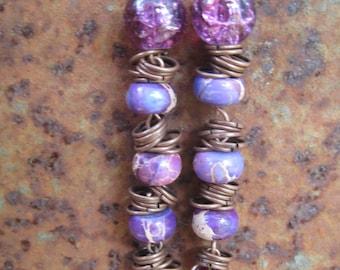 Shades of Purple Agate and Czech glass Dangle Earrings