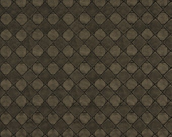 Brown Metallic Diamonds And Squares Upholstery Faux Leather By The Yard | Pattern # G796