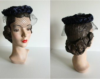 Vintage 1950s Navy Braided Straw Hat · Veiling, Halo Style Fascinator