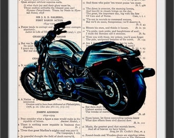 2017 Blue Nightrod Special VRod Motorcycle Altered Art Burn Glow Effect Beautifully Upcycled Vintage Dictionary Page Book Art Print