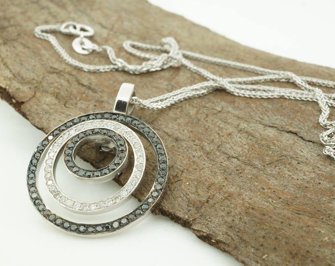 Circle diamond necklace-Diamond Necklace -Black and white diamond necklace-Unique diamond necklace-Cameo necklaces-Anniversary present