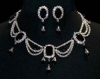 Jet Octagon and Oval Necklace and Earring Set #12682