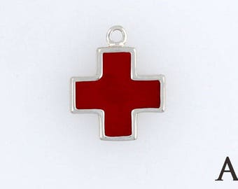 925 Sterling Silver Enameled Red Cross Charm, Choice of Earrings, Adapter, Necklace - enam37