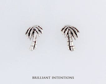 Sterling Silver Palm Trees Post or Stud Earrings