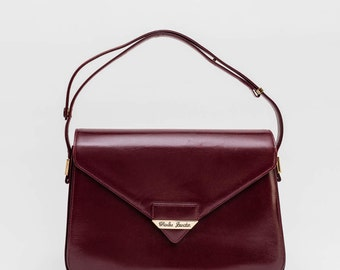 Vintage French bag / burgundy leather bag