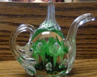 Darling Gibson Blown Art Glass Floral Teapot Paperweight