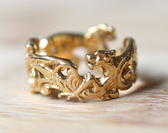Vintage Open Work 14K Gold Ring - Dragon Design Ring - Gold Band - Scrollwork Ring - Open Work Ring - 1940s Gold Ring - Vintage Dragon Ring