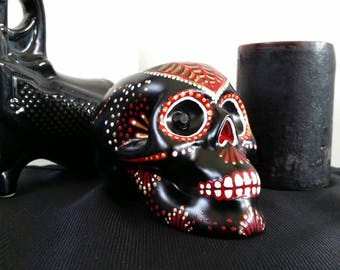 Hand painted skull tea light candle holder dia de los muertos style red and gold