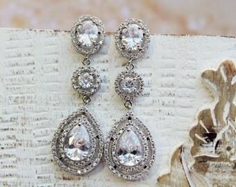 Art  Deco Bridal Earrings, Crystal Teardrop Earrings,Bridal Stud  Earrings, Drop Crystal  Earrings, Jewelry ,Wedding Jewellery Silver