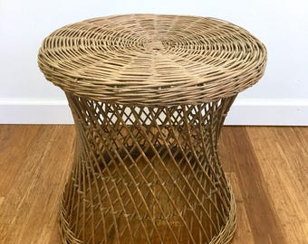 Vintage Natural Woven Rattan Wicker Round Side Table, Bohemian Accent Table, Cottage Style, Indoors or Patio Table