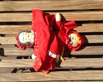 Vintage Handmade Topsy Turvy Doll Little Red Riding Hood Grandma Grandmother Red Flower Dress Wolf Story Book Telling Prop Puppet
