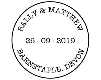 "Round Wedding Stamp, custom name date and location stamp, wedding envelope stamp, wedding RSVP, 1.5x1.5"" (cts168)"