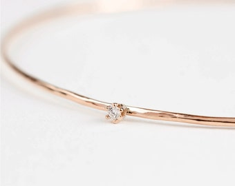 solid 14k rose gold diamond bangle, 1mm hammered wire bangle, floating diamond bangle, small diamond gold bangle,gol-b103