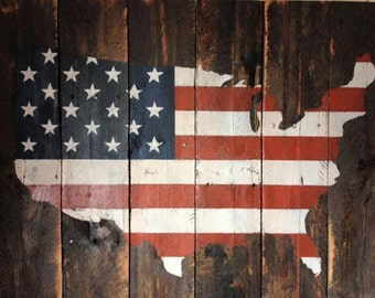 Us Flag Map Etsy - Us flag map