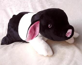 ANGELN SADDLEBACK PIGLET plush black and white Angler Sattelschwein stuffed animal nursery pig breeds belted soft toy handmade farmer decor