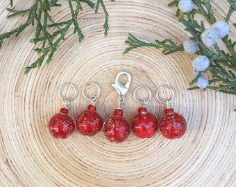 Glass Cherry Stitch markers | knitting stitch markers| knitting Accessory | Knitting Notions