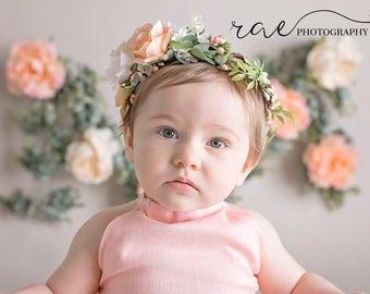 Peach Rose & Eucalyptus Flower Crown - Peach Flower Girl Crown- Bridal Halo - Photo Prop -Rose Garland - Flower Girl Hair Wreath