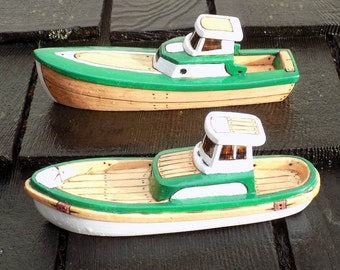 BackBay and Cedar Wooden Toy Boat set(Green and  White)