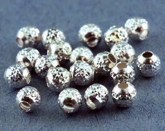 Pyramid Cut Bead Sterling Silver 4mm (Pkg of 20)  (ABS-PC4)