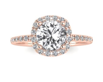 14k Rose Gold Halo Diamond White Sapphire Engagement Ring Cushion Cut Wedding Ring Lab-Grown White Sapphire,  Re00082