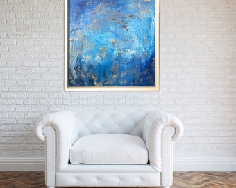 Original FRAMED abstract painting  60x60cm 48x36in Contemporary blue and gold colours Wall Art Painting Abstract Painting Ready To Hang