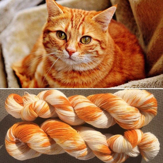 Ginger Tabby, cat inspired 4ply fingering superwash merino nylon blend indie sock yarn