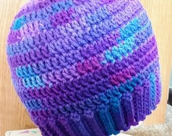 Messy Bun Hat / Ponytail Hat - Grape Fizz