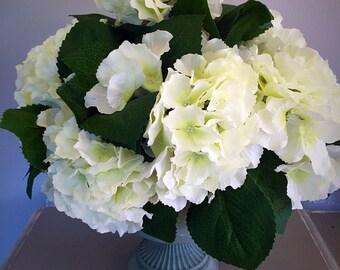 Silk flower hydrangea centrepiece - floral arrangement - white hydrangeas - silk arrangement