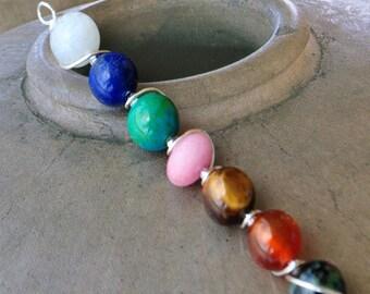 Silver Pendant 7 chakra gemstones - harmonizing energy
