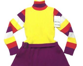 Vintage deadstock block colour stripe knit rock neck dress age 6-7