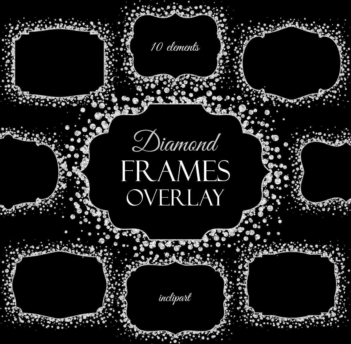 Diamond Frames overlay clipart. Digital Sparkle by inclipart
