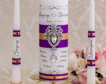 Purple and Gold Unity Candle Set, Wedding Unity Candle Set Personalized Ceremony Crystal Unity Candles Set, Crystal Wedding Candle Set