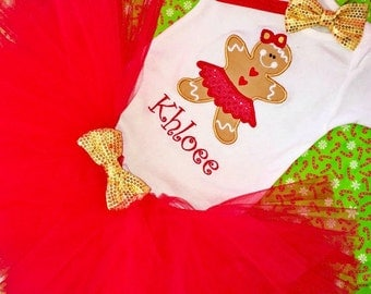 Baby Girl Christmas Outfits, Girl Toddler Christmas Outfit,Gingerbread Girl Outfit, Toddler Christmas Tutu Set, Gingerbread Girl Tutu Set