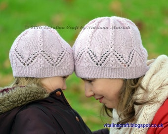 Knitting Pattern - Lace Charm Hat and Cowl Set (from Baby to Adult sizes)