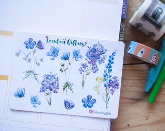 Purple and blue botanicals - decorative watercolour planner stickers suitable for any planner -305-